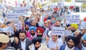 AAP cadre protests against hike in fuel prices in all districts across the state